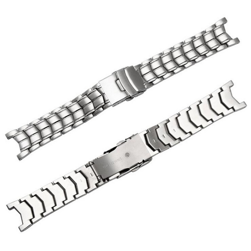 neway Brushed Stainless Steel Genuine Watch band For CASIO Edifice EF 524 Watch Strap Bracelet Men Watchband Silver Safety Clasp