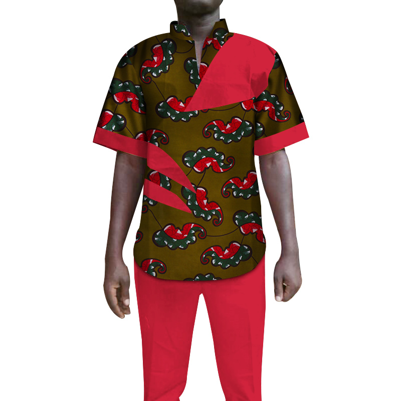 Custom 2 Pieces Mens Pants Sets African Clothing Bazin Riche African Wax Print Top Suits and Pants Sets Ankara Clothes WYN104