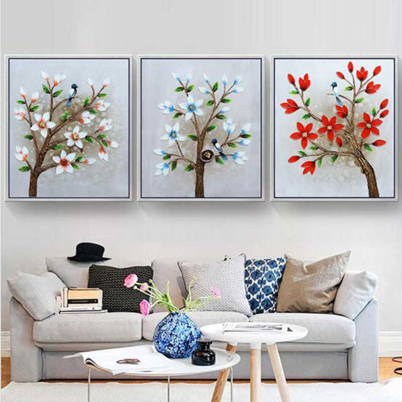 D SH 5D Diamond Painting Square/Round Drill e Living Room Embroidery Cross Stitch Flowers Birds Three sheets Diamond Decor