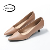 WEIQIAONA 2018 New Fashion Brand Design Working Shoes Low Heels Pionted Toe Dress Shoes High Heel Pointed Toe Wedding Shoes