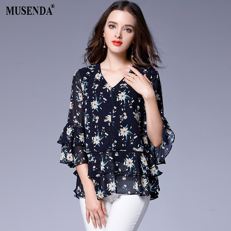 MUSENDA Plus Size Women Royal Blue Print V-Neck Butterfly Sleeve Ruffles Blouse 2017 Autumn Female Fashion Tops Shirt