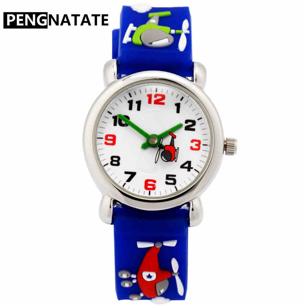 PENGNATATE Watches For Boy Fashion Cartoon Children Wristwatches Silicone Strap Quartz Kids Watch Gifts For Students Hand Clock