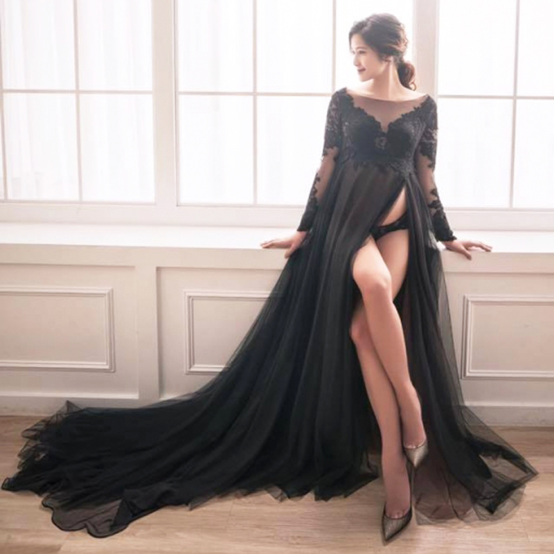 Pregnant A line Dress Black Long Empire Lace Tulle Pregnant Party Dresses robe de soiree vestido de festa expectant mother Dress