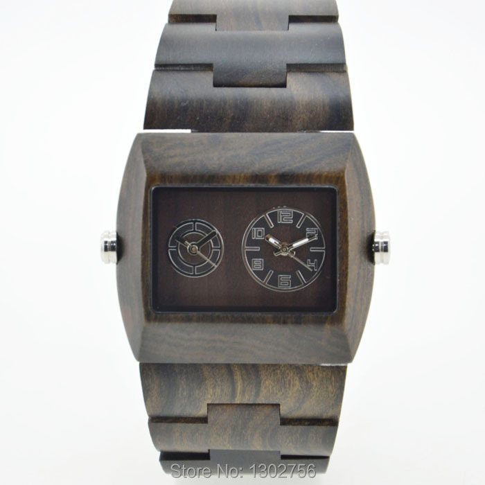 ФОТО 2015 New Arrival Dress Black Sandal Wood Japan MIYOTA Double Movement Quartz Analog Watches For Unisex Wooden Watch With GiftBox
