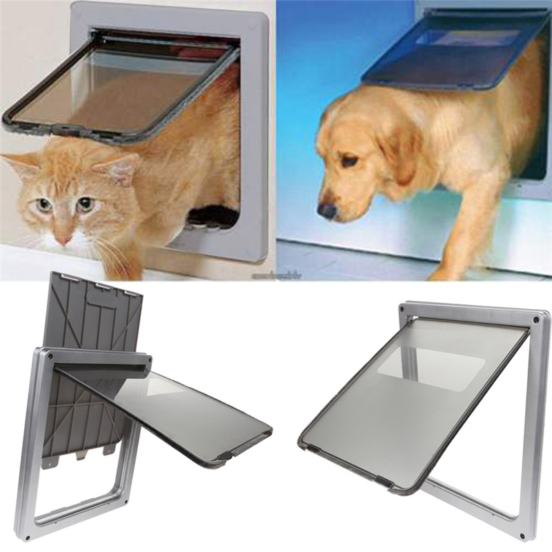 17.3''  Large Silver  Black Coffee 3 Colors Lockable Cat Flap Door Kitten Dog Pet Lock Suitable For Any Wall Or Door