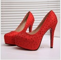 New Fashion 2017 Women's Silver Rhinestone Prom Pumps High Heel Crystal Brand Glitter Sparkly Platforms Silver Red Bottom 11cm