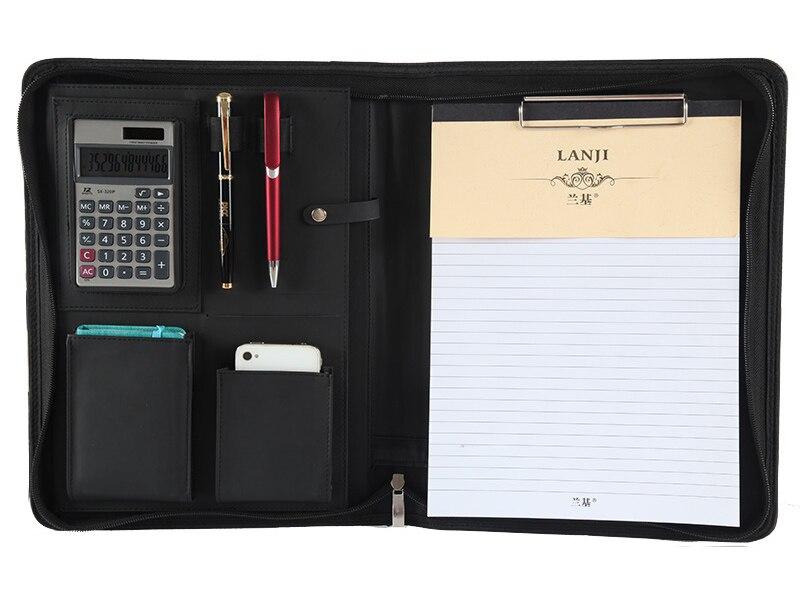 Tragbarer Business Portfolio Ordner Dokumententasche Organizer A5 PU-Leder DE