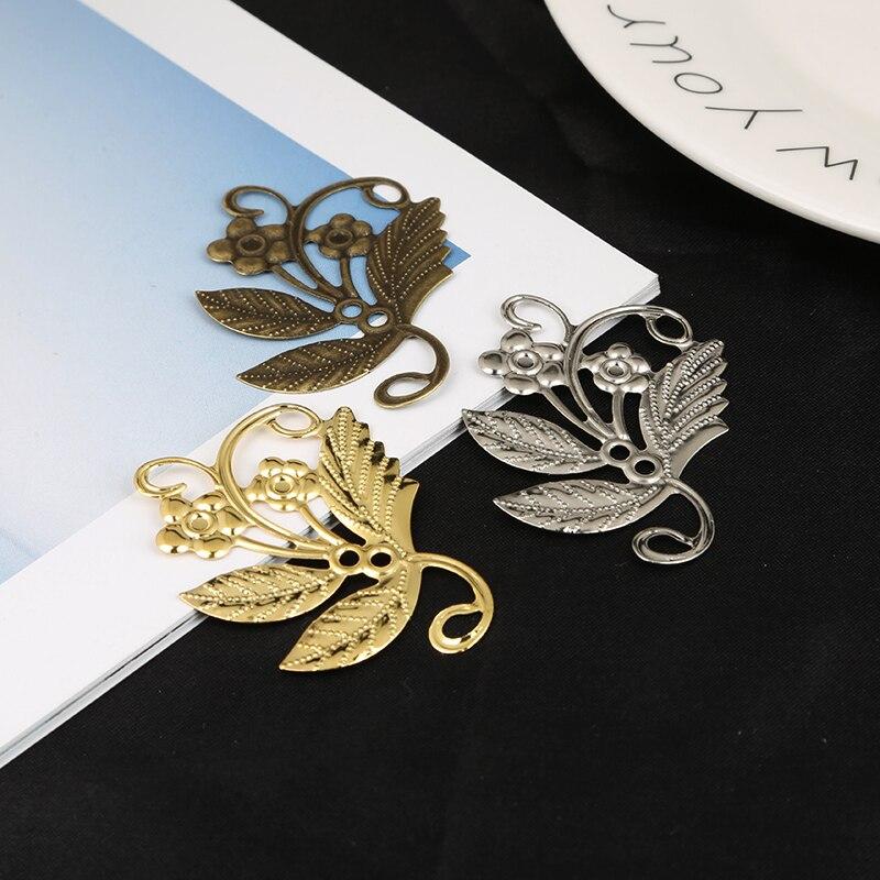 10 pçs/lote Ouro/Bronze/Rhodium 40x49mm Flor Envoltório Filigrana Conectores Para Fazer Jóias DIY Charme Pingente