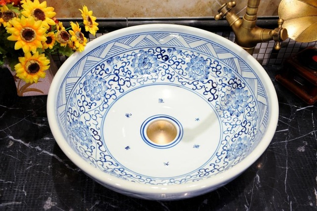Blue And White Chinese Antique Ceramic Sink China Wash Basin Counter Top Bathroom