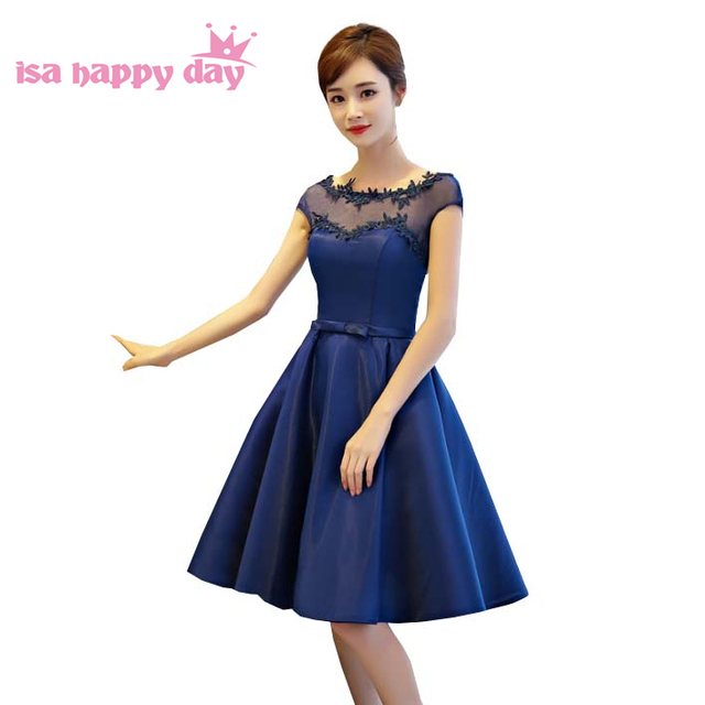 dark blue satin bridal ladies short formal elegant pretty sweetheart ...