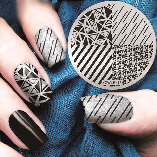 Stripe Line Nail Stamping Plates Geometric Nail Art Stamp Plate Nail ...