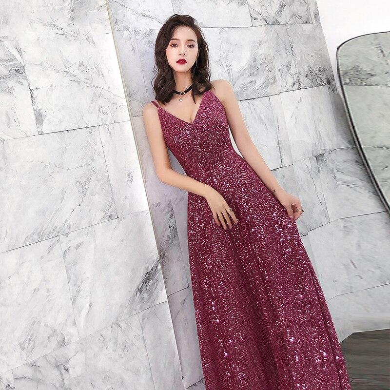 5885 29 De Descuentoaswomoye A Line Vestido De Noche 2019 Nueva Moda Brillante Lentejuelas Alfombra Roja Vestido Sexy Spaghetti Correa Vestido De