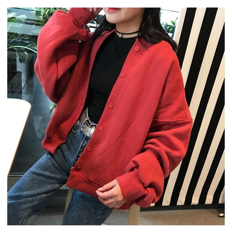 Women red long sleeve retro baseball Cardigan Jacket Rock motorcyle Coat lantern sleeve punk bomber multicolor loose streetwear