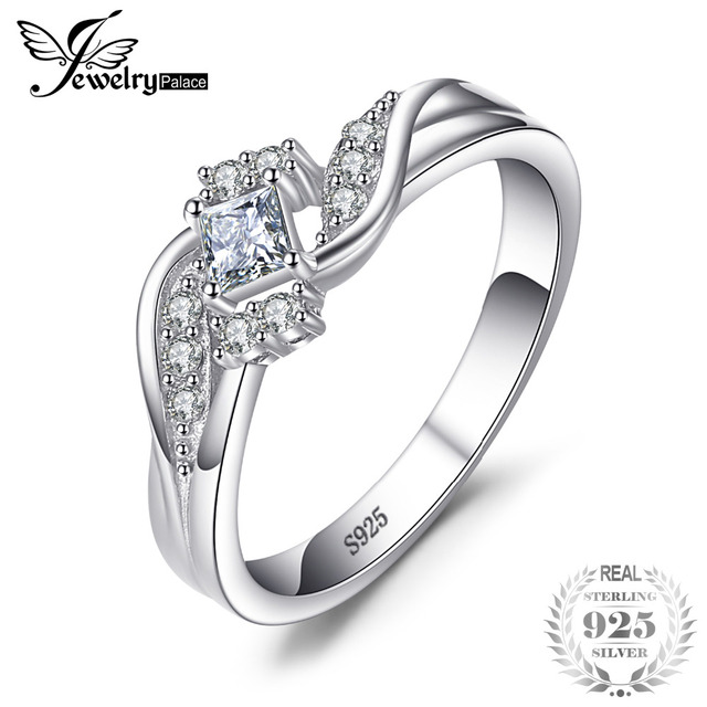JewelryPalace Bridal Princess Cut Cubic Zirconia Wedding Ring Pure 925 Sterling