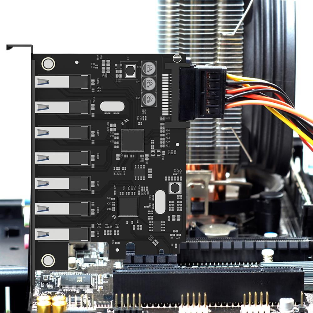Image 5 - ORICO SuperSpeed USB 3.0 7 Port PCI E Express card with a 15pin SATA Power Connector PCIE Adapt VL805 and VL812 chipsetsport satausb3.0 pci-epci-e usb3.0 -