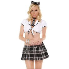 New Arrival Hot Sale Two Piece White and Black Plaid Sheath Sexy School Student Uniform Face Europe and America Female BI07