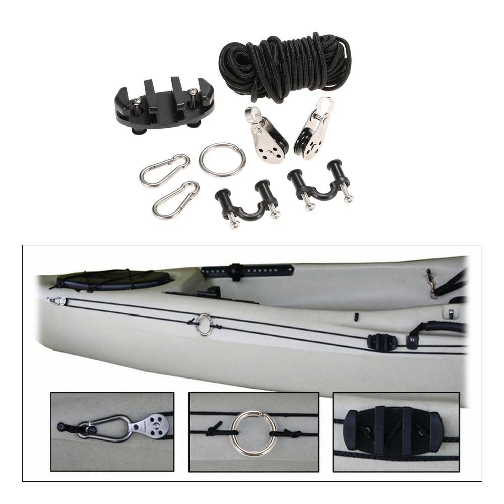 Pad Eye Anchor Trolley Kit for kayak DIY Kayak Anchor Trolley Cleat Kit Set With Nuts Stainless Steel Screws Rivets boat Kayak