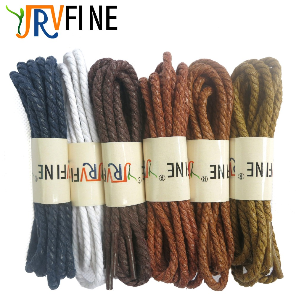 YJRVFINE 1 Pair 3.5mm Soft Waterproof Cotton Round Waxed Shoelaces Strings Shoe Laces for Dress Shoes&Leather Boots&Martin Boots