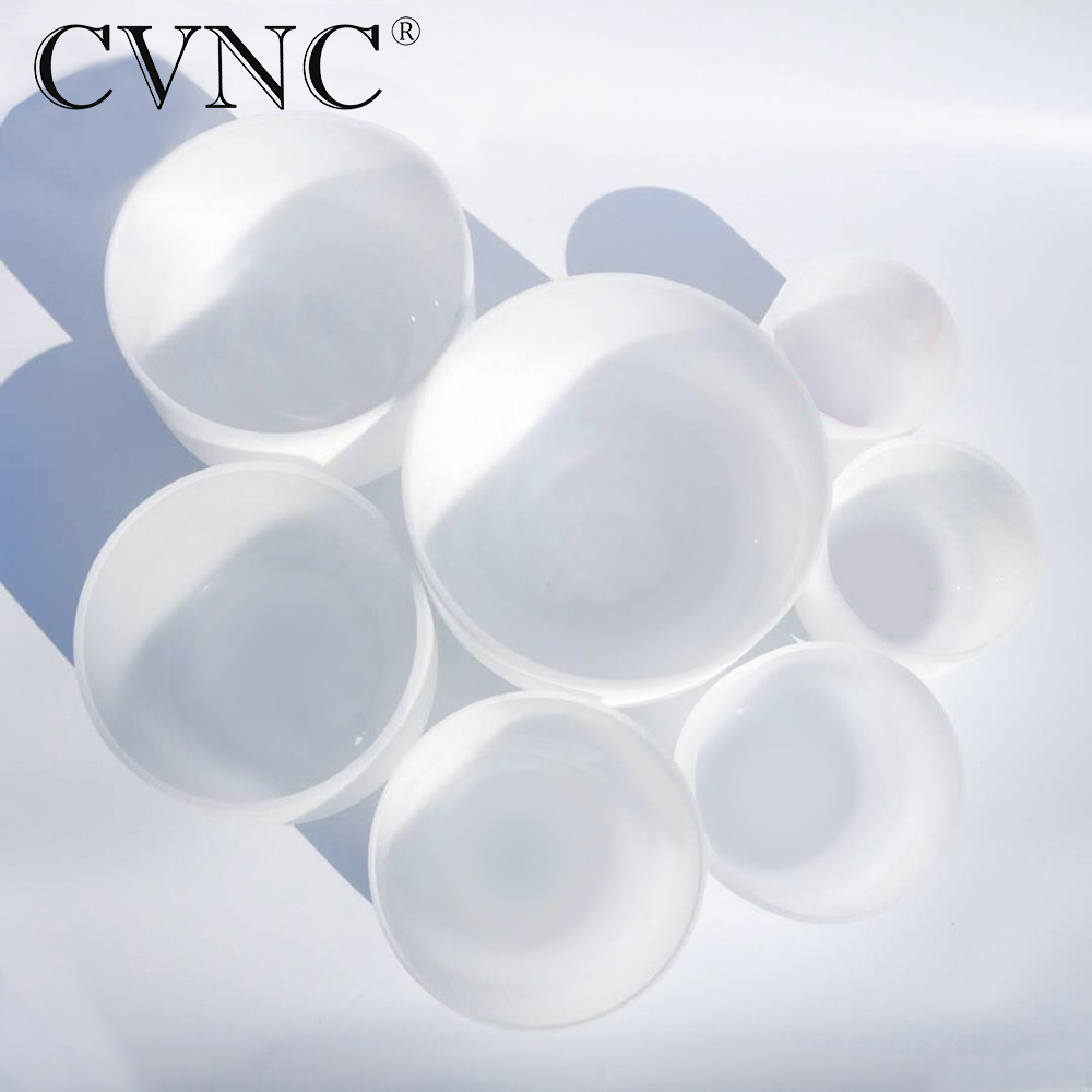 CVNC Chakra Tuned set of 7 Pieces Frosted Quartz Crystal Singing Bowls 8 14