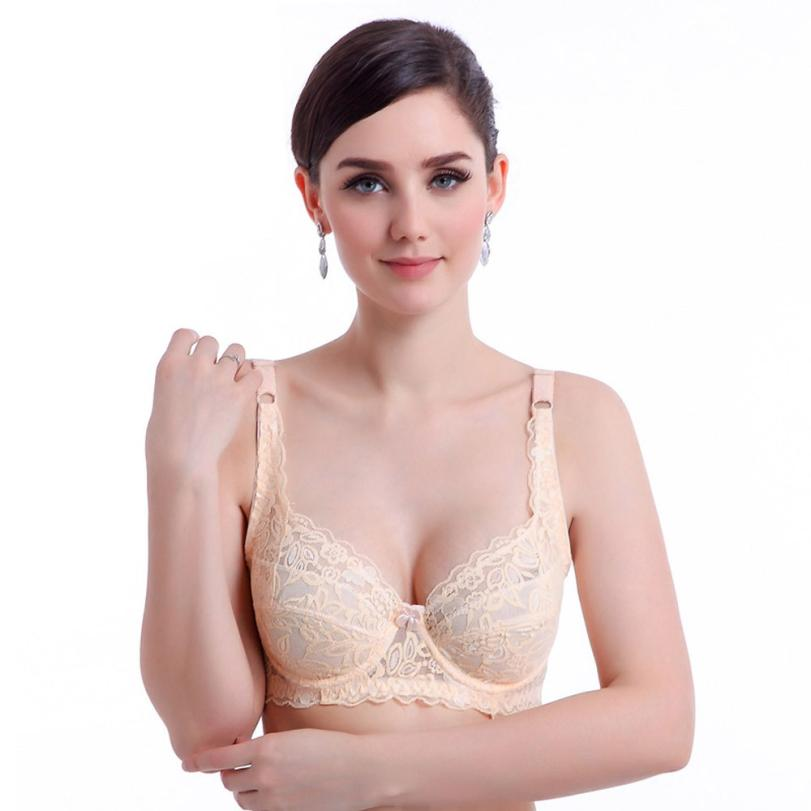 2017 Fashion Women Sexy Push Up Bra Deep V Ultrathin Underwire Padded Lace Brassiere Bra fly bra Solid Color bras for women