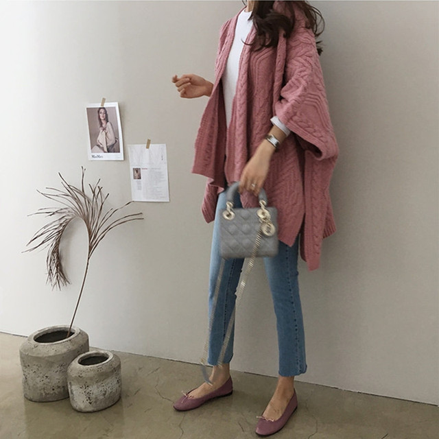 Cardigan Irregular Batwing Tops Knitted Poncho Sweater 1