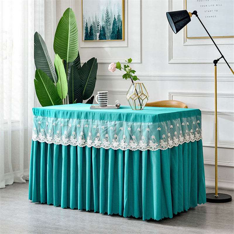 100% Polyester Visa Wedding Table Skirt With Table Cloth Table Cover Table SKirting With Lace For Party Banquet Wedding Decor Table Skirts     - title=