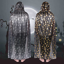 Besegad 80cm Adult Silver Spiderweb Cobweb Gold Witch Hat Pumpkin Hooded Cloaks Cape Witch Vampire Robe Cape Halloween Costume(China)