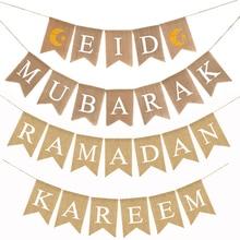 Eid Mubarak баннер мусульмане Рамадан Kareem украшения льняной висячий флаг с веревками ислам приспособления для декора вечеринки дома