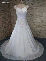 2017 free shipping New cap sleeve  A line Sweetheart chiffon and satin  Women Vestidos  Wedding Dresses FS082