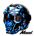 Personality motorcycle helmet Genuine men and women iron man the high-end off-road motorcycle retro Blues