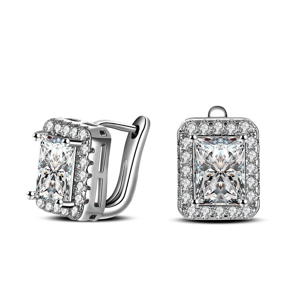 100 925 Sterling Silver font b Jewelry b font Classic Super Flash Ear Buckle Silver Earrings