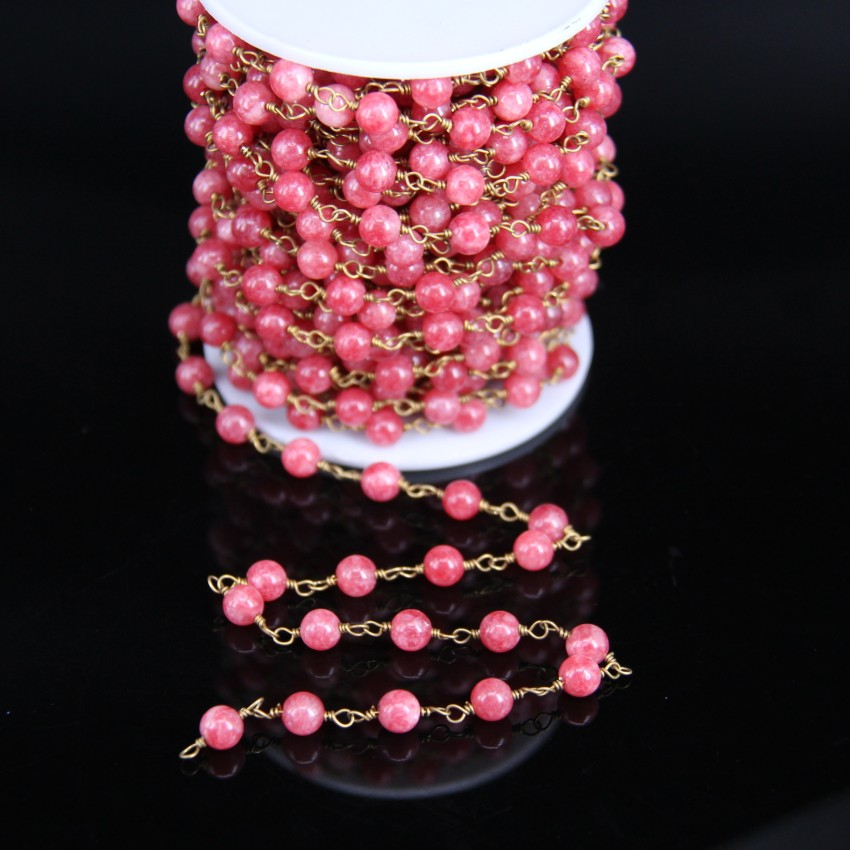 6mm Rose Pink Malaysian Jade Smooth Round bead Rosary Chain,Strawberry Crystal Quartz Color beads Brass Link Wire Wrapped Chains malaysian ethnic festival foods