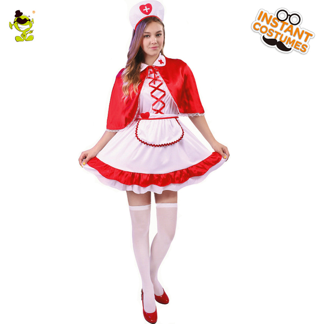 2072faf289b51 2018 Adult Royal Nurse Costume Carnival Role Play Sexy Hottie Outfits for  Women Cosplay Sweet Fancy Dress Female Doctor Costumes