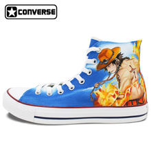 High Top Canvas Sneakers One Piece Converse All Star Men Women Hand Painted Shoes Man Woman Luffy Ace Jolly Roger Unique Gifts