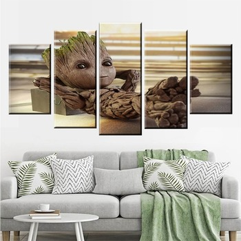 Canvas Painting Vintage Wall Art Frame Printed Pictures 5 Panel Poster Baby Groot Modern Decorative Photo Decor quadro cuadros