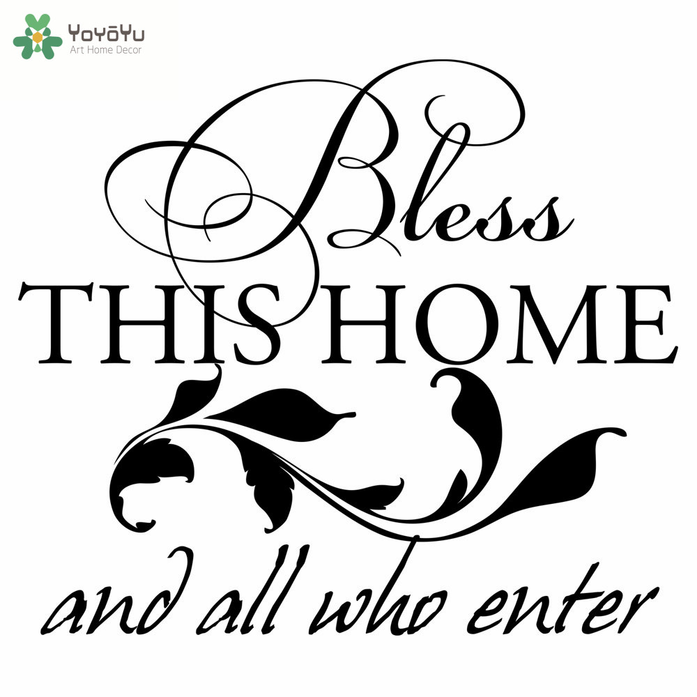 Home Decor Quotes Bless This And All Who Enter Vinyl Wall Stickers Art Mural Removable Interior Design Adhesive Decalssy231 In From