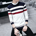 The new 2016 men's wear pullovers Round collar color matching stripes sweater