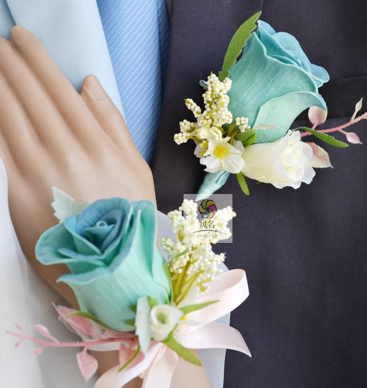 Black Flower Corsage Brooch Masoomah: Blue Pink PU Rose 2 Color Man Groom Boutonniere Bride