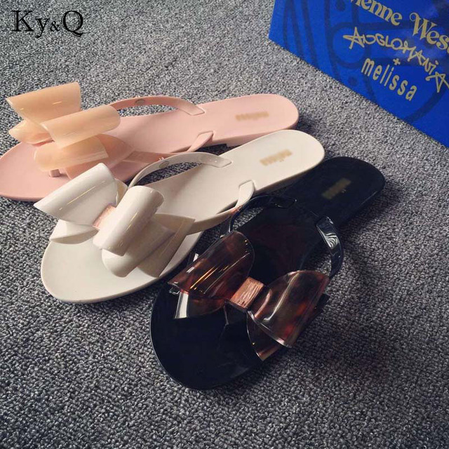 4215832c7 Summer New Women Bow Flower Jelly Beach Casual Sandals Flip Flops Flat  Shoes Fashion Clear Sandals