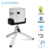 Everycom D019 Mini Pocket DLP Projector HD WIFI Bluetooth Android 7.1 LED Projector Portable with Battery USB Support 1080p