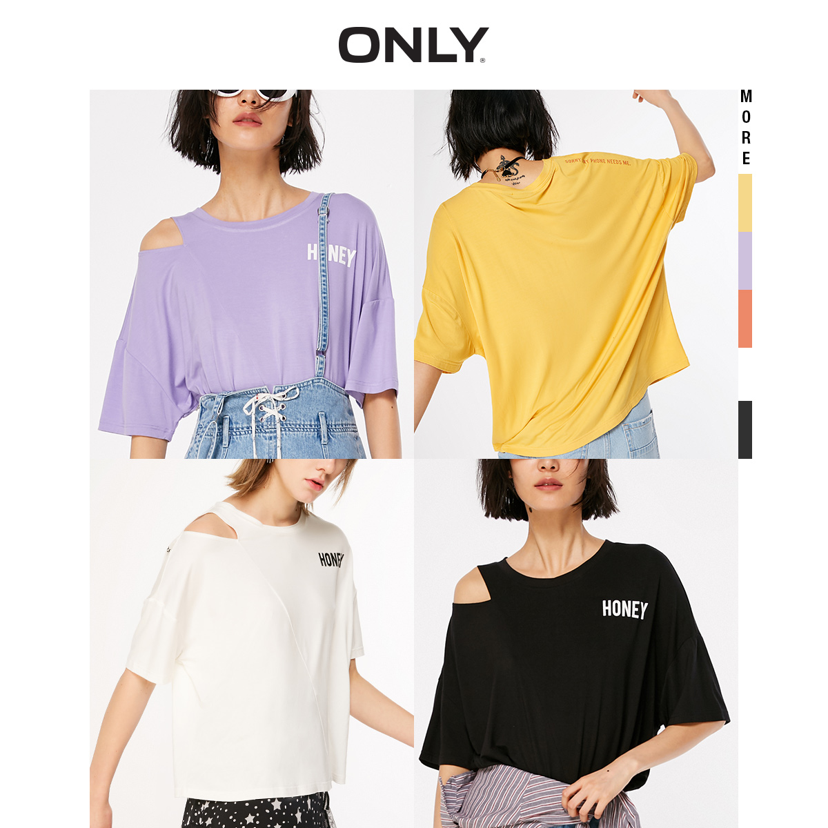 ONLY Women's Letter Print Off-the-shoulder Loose Fit Short-sleeved T-shirt 119201555