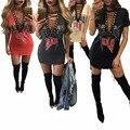 Europeu Americano Estilo Bad Carta Impressão Milho Quente V Pescoço Camisa Bandagem Mini Vestido da Cabeçada Camisa Mulheres Camisa de Vestido