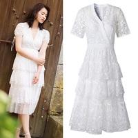 Li ying zhao zoe star fashion embroidery v neck lace layers flouncing dress 8705 cake