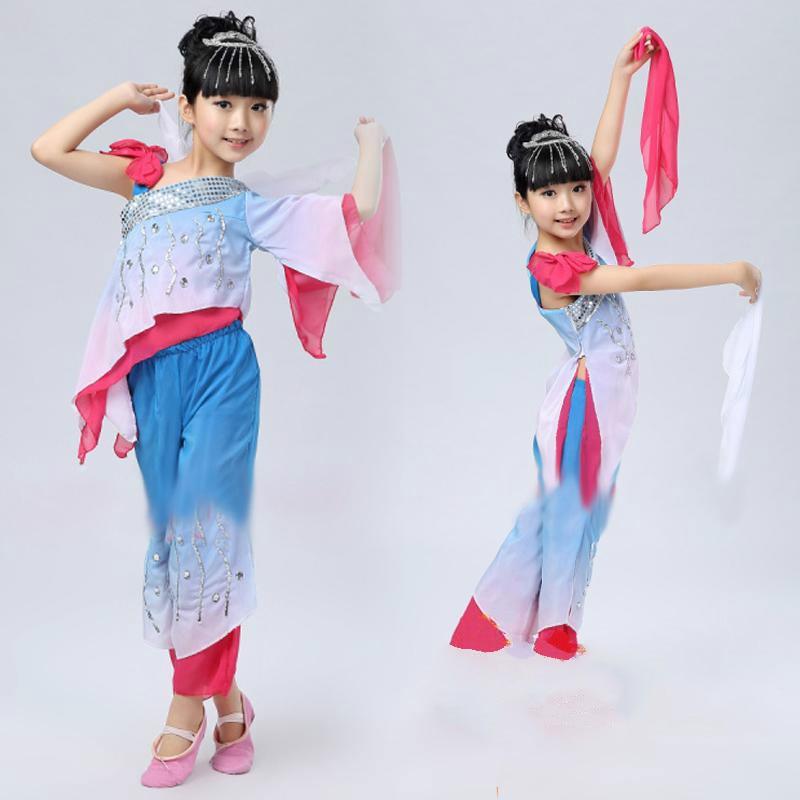 Nova dekleta kitajske narodne plesne noše Otroška oboževalka - Odrska in plesna oblačila