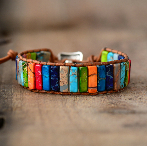 Chakra Bracelet Jewelry Handmade Multi Color Natural Stone Tube Beads Leather Wrap Bracelet Couples Bracelets Creative Gifts 4