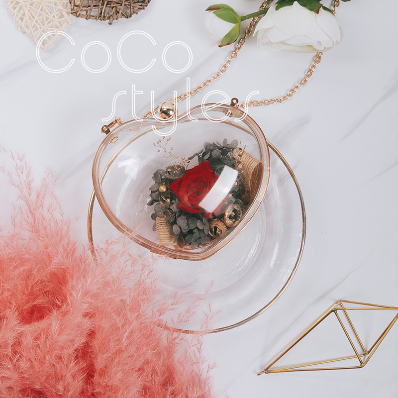 Cocostyles personnalisé blanc luxe coeur forme acrylique fleur sac pour mode mariée mariage fleur cadeau sac - 4