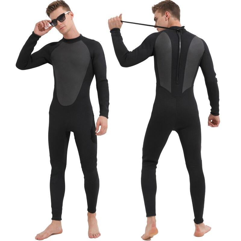 3mm Neoprene Men's Full Body Wetsuit, Long Sleeve Scuba Diving Sports Skins, Back Zip Snorkeling Surfing Wet Suit Wetsuits Black women s wetsuit 3mm premium neoprene diving suit full length snorkeling wetsuits full body