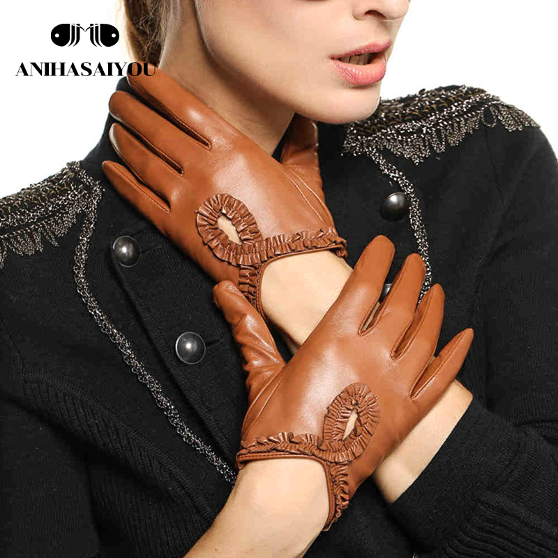 Simple Autumn Leather Gloves Women  High Grade Genuine Leather Sheepskin Gloves Lace Driving Touch Gloves- L097