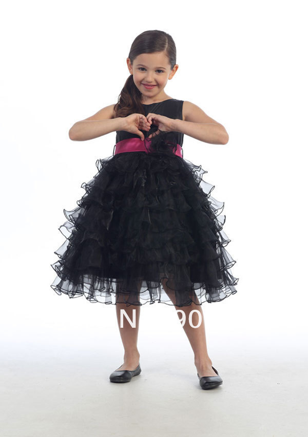 Free Shipping Lovely   Flower     Girl     Dresses   Prom   Dresses   Harness   dress   princess   dress   Pink/Gray