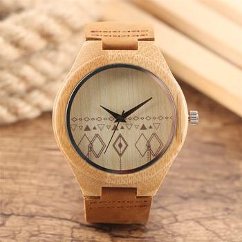 цена на Bamboo Wooden Men's Watches Leather Band Quartz Wrist Watch Men Creative Compass Pattern Fashion Casual Male Clock Gift New